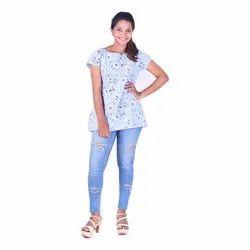 Round Neck Ladies Half Sleeve Rayon Printed Top, Size: S, M, L, XL, XXL