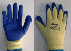 Yellow And Blue Latex Coating Gloves Yellow Blue, for Industrial Use