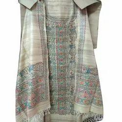 Unstitched Hand Painted Madhubani Silk Suit