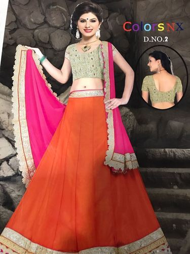 5a3c69b47217d6 Available In Many Color Party Wear Border Lehenga Choli, Rs 2800 ...