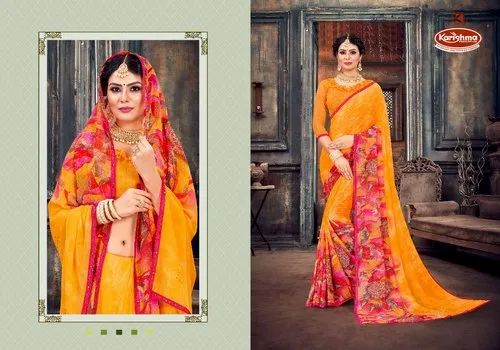 Georgette Printed Bordered Saree - Star Girl