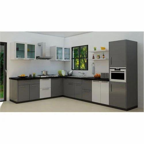 Gray White Wooden Modern Kitchen Cabinet Rs 17000 Piece Shreenath Hardware Id 19608814297