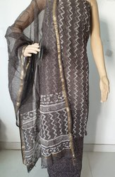 Regular Wear Bagru Hast Kala Printers Kota Doriya Salwar Suit Set, Gsm: 50-100, Use: Garments