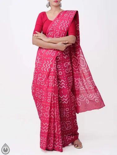 Multi Durga Puja Special Saree Saniya SILK Saree Women Bandhani Tie Dye Printed Sari Clothing Wedding Wear With Unstitched Running Blouse