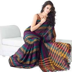 Casual Wear, Formal Wear Embroidered Cotton Ladies Saree