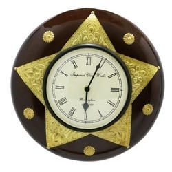 Wooden & Brass Star Shave Brass Work Wall Clock