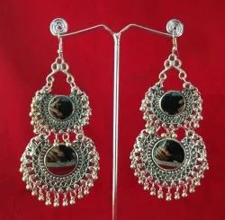 Alloy Silver NK Handmade Fashionable Oxidized Mirror Gold Earring