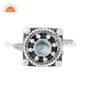 Manufacturer Blue Topaz Gemstone Oxidized Silver Ring Jewelry For Girls