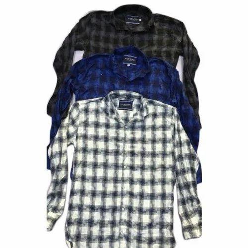 Clothqne Cotton Spandex Mens Checks Shirts, Hand Wash and Machine Wash