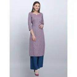 Casual Wear Light Purple Rayon kurti