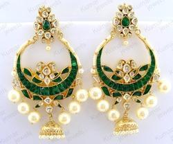 Green, Red Kumar Jewels Big Green Kundan Pearl Carved Chandbali Earring