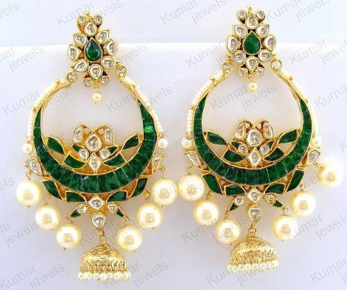 774a3649c7fbf Imitation Earring - Big Green Kundan Pearl Carved Chandbali Earring ...