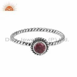 Pink Tourmaline Gemstone Supplier Twisted Design 925 Silver Rings