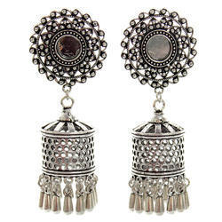 Oxidized Mirror  Earring Jhumki