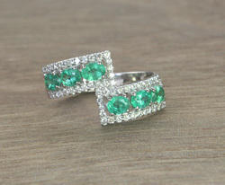 14K Emerald and Diamond White Gold Ring