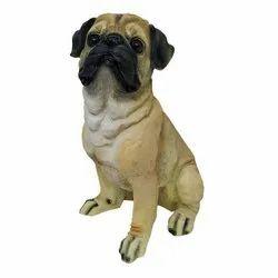 Sitting Pug Dog Statue