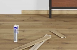 Action Brown and Off White & Grey Laminated Wooden Flooring Services