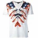 Cotton Casual Wear Mens Half Sleeve V-neck T-shirt