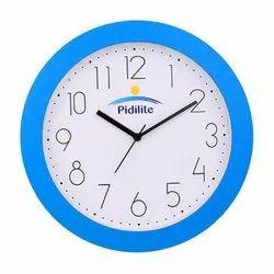 White,Sky Blue Analog Plastic Round Wall Clocks