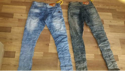 Blue And Grey Male Funky Wash Denim Jeans FKD-5546