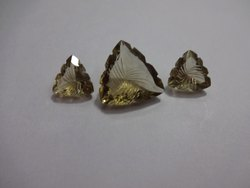 Lemon Quartz Trillion Carving, Carved Fancy Shape Calibrated Loose Gemstone Pairing Set