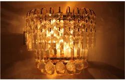 Down Incandescent Bulb Crystal Wall Mounted Light