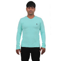 Mens Lycra Cotton Light Green V Neck Full Sleeve T Shirt, Size: L