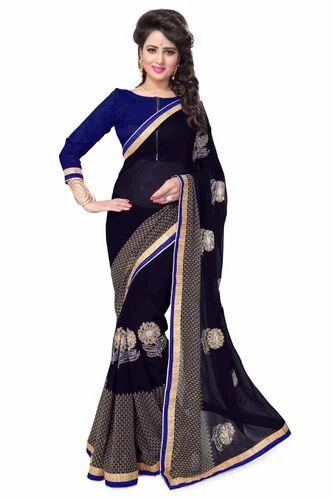251ecf13d0147e Printed Mirchi Fashion Navy Blue Faux Georgette Party Wear Saree, Rs ...