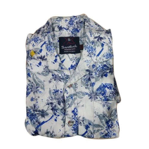 Cotton Printed Mens Casual Shirt, Size: 38-42