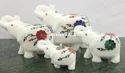 动物图白色大理石镶嵌大象家装饰