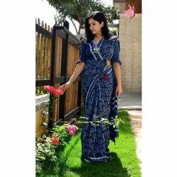 Printed Blue Cotton Casual Sarees, Machine wash