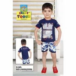 Casual Wear Kids Half Sleeve Top And Denim Bottoms Baba Suit