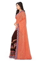 Lycra Pallu Embroidered Designer Orange And Brown Color Saree