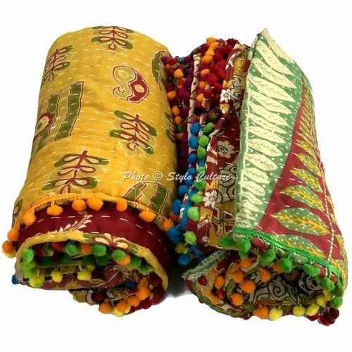 Vintage Kantha Handmade Baby Quilt