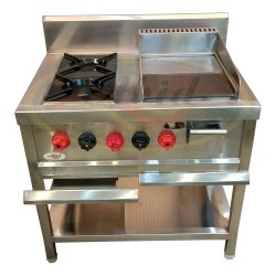 Stainless Steel LPG Continental Burner Cooking Range, For Kitchen, Size: 36