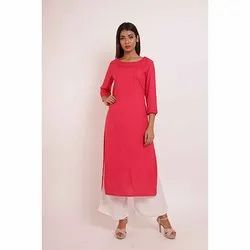 Rayon Kurti With Pintucks