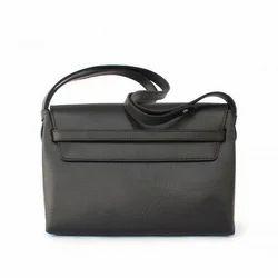 PVC Coated Fabric Ladies Black Plain Sling Bag