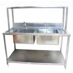 Silver Stainless Steel Double Bowl Kitchen Sink, Size: 18x12x9 Inch