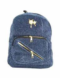Blue Glittering Girls Backpack