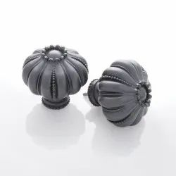 Set Of 2 Lotus Charcoal Curtain Fittings