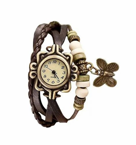 Vintage Multiplayer Butterfly Faux Leather Analogue Multicolour Dial Wrist Watch for Women
