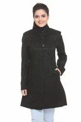 Full Sleeves Ladies Black Long Coat