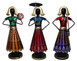Master Crafts Multicolor Iron Hand Painted Labour Lady Set of 3