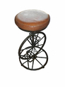 Industrial Bicycle Cafe & Bar Stool With Leather & Wood Sets