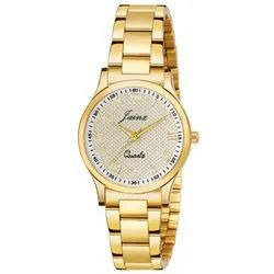 Jainx Golden Round Analog Watch For Women - JW1209