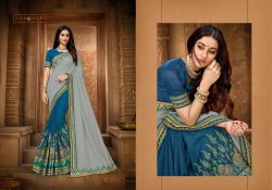 Vichitra Silk Embroidery Work Party Wear Saree, With blouse piece