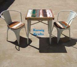 Kernig Krafts Jodhpur Color In Trend Cafe Set Rustic Wooden Metal Industrial Furniture Table Chair