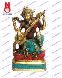 Goddess Saraswati Sitting Statue W/stone Work Statue