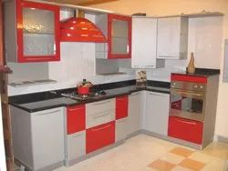 Red And White L Shaped Modular Kitchen