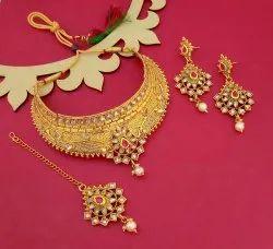 Choker Golden JewelEMarket Necklace Set, Occasion: Wedding